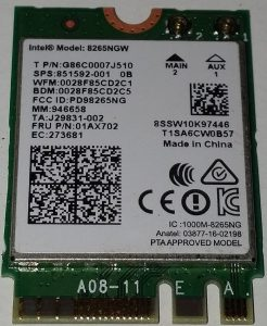 Intel Dual Band Wireless AC 8265 WBt