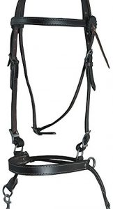 English Leather Crossover Bitless Bridle Headstall