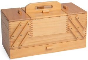 Hobbygift Wood Cantilever Sewing Box