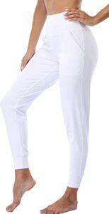 Oalka Women's White Sweatpants for Yoga